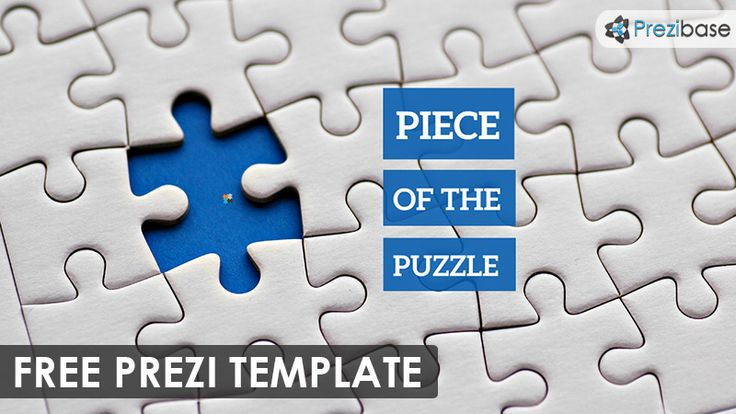 Prezi Template with 3D jigsaw puzzle pieces scattered on a gray - pyramid template