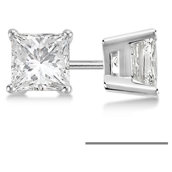 Allurez 0.50ct. Princess Diamond Stud Earrings 14kt White Gold (H-I,... ($645) ❤ liked on Polyvore