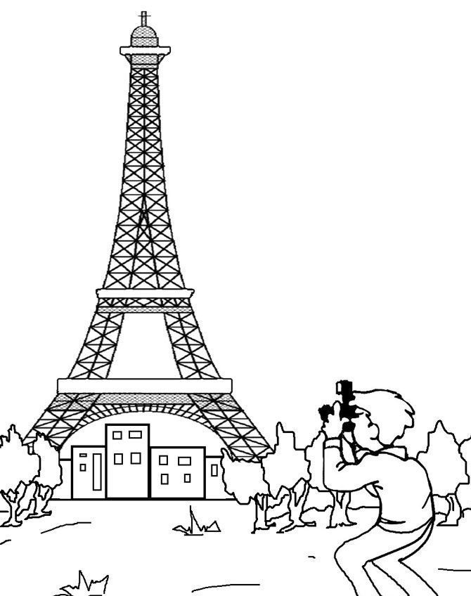 Printable Eiffel Tower Coloring Pages For Kids 99734923749234