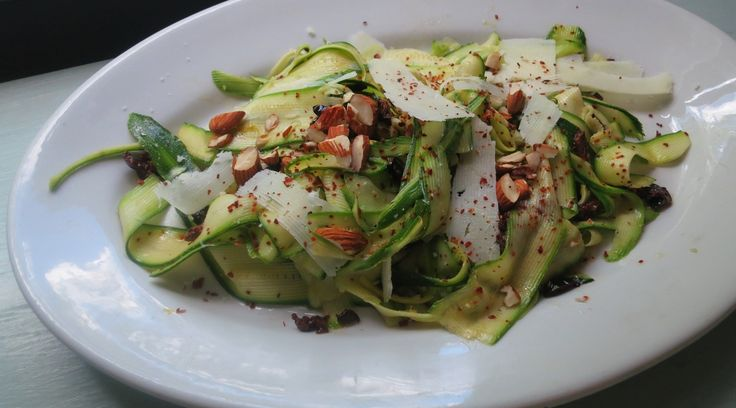 Zucchini Ribbon Salad with Pecorino Romano, Almonds and Honey > Another great way to use up the summer garden zucchini xx