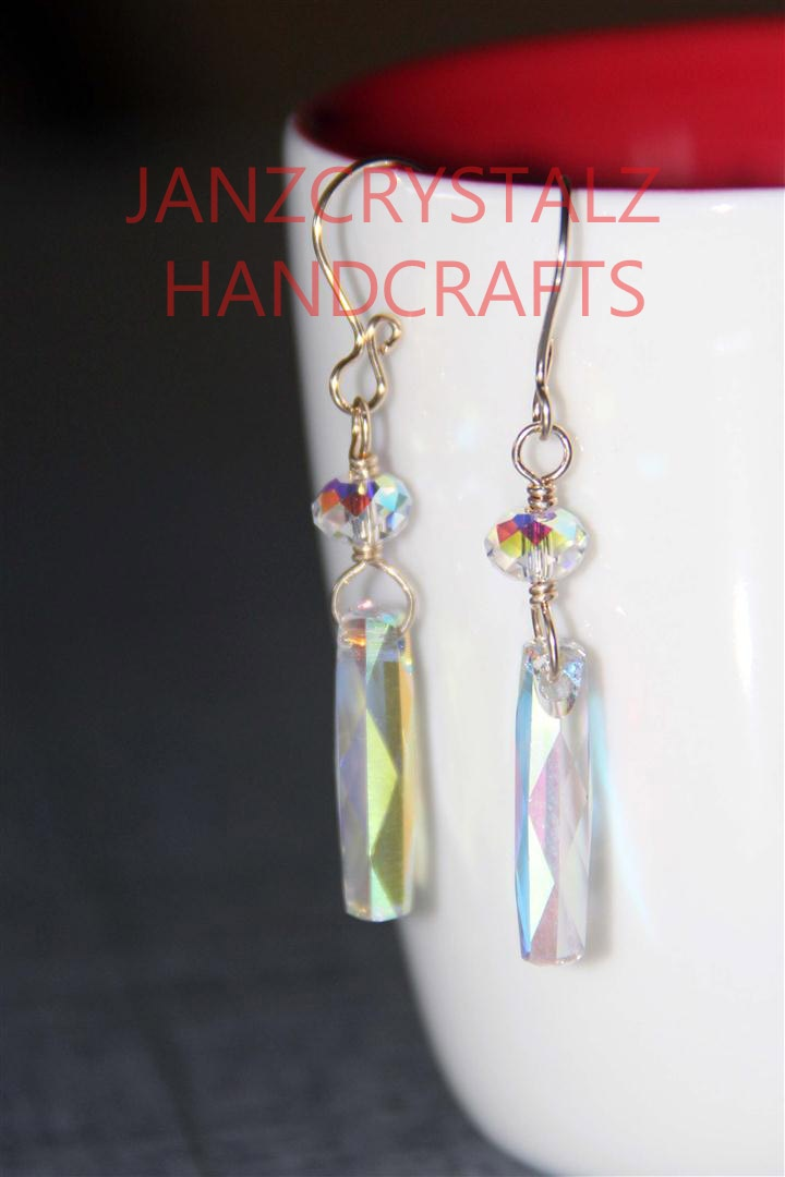 Swarovski Column (6460) Earrings  (Color: Crystal AB)