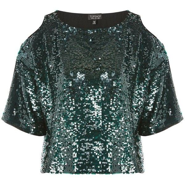 Topshop Sequin Cold Shoulder Crop Top (3.025 RUB) ❤ liked on Polyvore featuring tops, green, cropped tops, cold shoulder crop top, green top, open shoulder tops and going out tops
