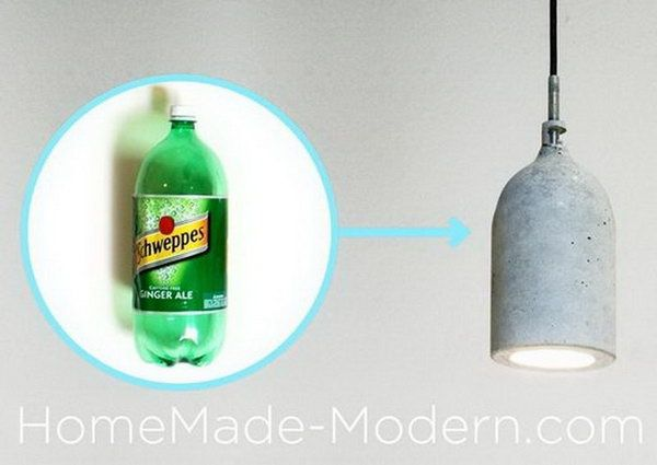 Homemade Concrete Pendant Lamp, Cool DIY Concrete Project Ideas, http://hative.com/cool-diy-concrete-project-ideas/,