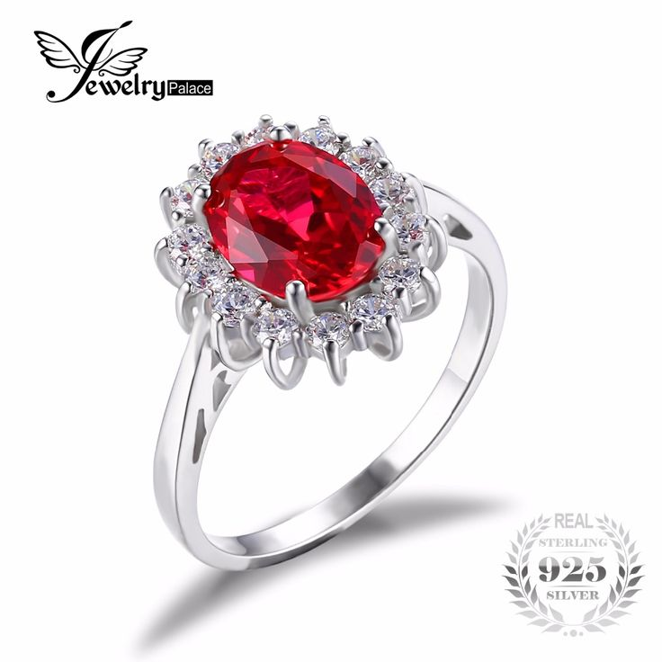 JewelryPalace Princess Diana William Kate Middleton's 3.2ct Red Created Ruby Engagement 925 Sterling Silver Ring Jewelry Gift