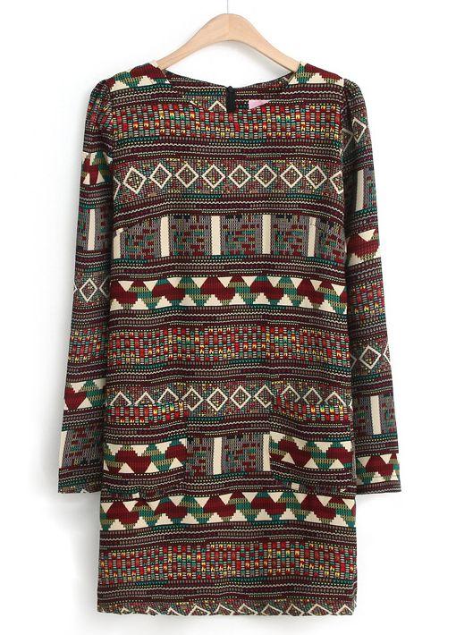 Red Long Sleeve Tribal Pattern Straight Dress EUR€18.25