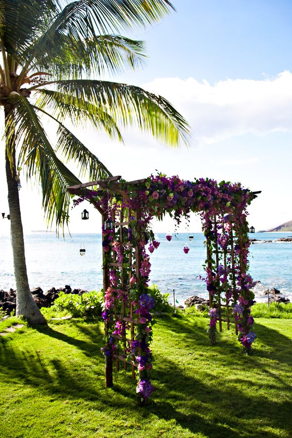 Wooden Arch With Purple Flowers...beautiful..perfect place for a wedding :)