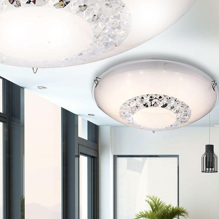 Elegante 8W LED Decken Lampe Glas silber Gäste Schlaf Zimmer Kristall Leuchte
