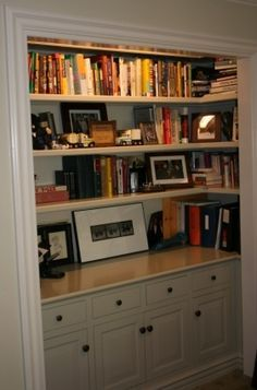 closet conversion to bookcase