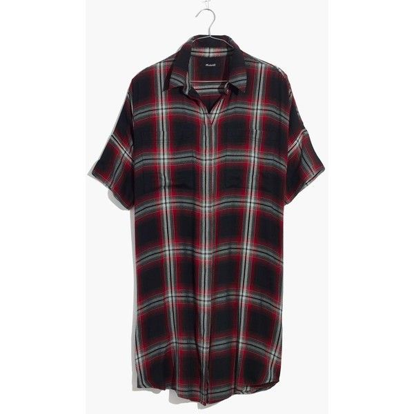 MADEWELL Courier Shirtdress in Rollins Plaid (£74) ❤ liked on Polyvore featuring dresses, grunge plaid true black, t-shirt dresses, madewell dresses, draped shirt dress, drapey dress and madewell