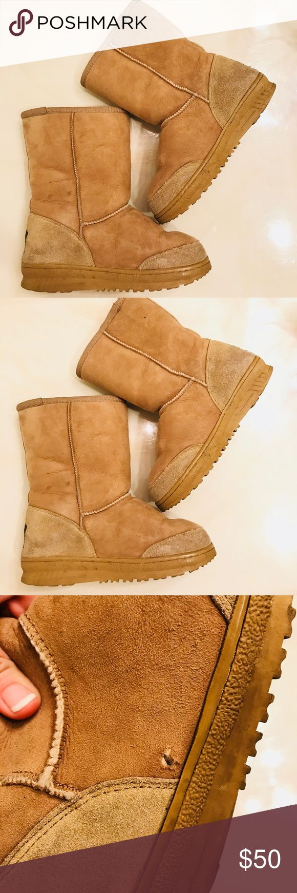 UGG Padded Booties Upper made of sheepskin and sole made of synthetic rubber. Please refer to photos for condition. Minor whole on right foot shoe. Also refer to photos.  Details Size 6L Shaft- 15.5  Please ask questions prior buying No trades, exchanges or returns UGG Shoes Ankle Boots & Booties