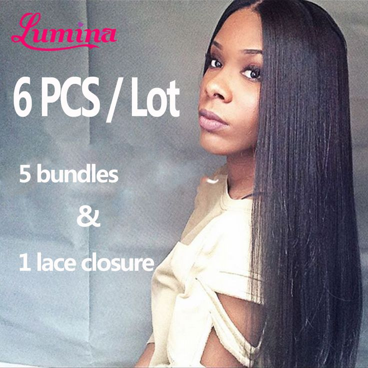 8A Straight Brazilian Virgin Hair With Closure Human Hair 5 Bundles With Closure 20 22 24 26 28 Mink Brazilian Hair With Closure