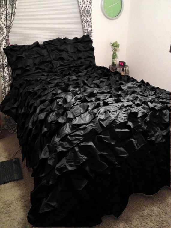 Perfect frilly & ruffled black bedspread to go into our black butterfly teen bedroom! Black Waterfall Ruffle Bedspread & 2 Ruffle Pillow by Lavishmart, $159.99