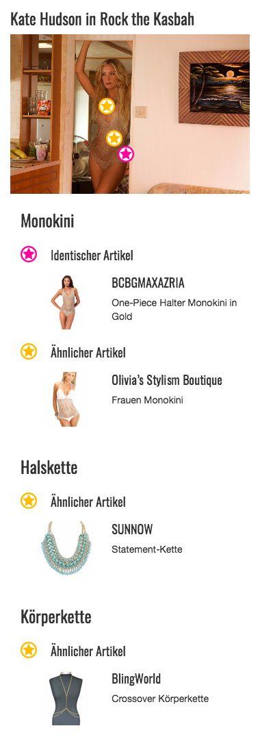 Er verdeckt zwar etwas mehr Haut als ein Bikini, ist deshalb aber keineswegs weniger sexy: Der BCBG Max Azria Monokini von Kate Hudson alias Merci könnte mit seinem gehäkelten, beige bis goldenen Webstoff glatt als Negligee durchgehen. Vorne erinnert das Design an ein Häkel- oder Strickmuster. An den heiklen Stellen ist der Stoff von innen verstärkt und damit weniger transparent, als die restliche Netzstruktur. Dennoch lässt das verführerische Kleidungsstück viel Raum für Fantasie…
