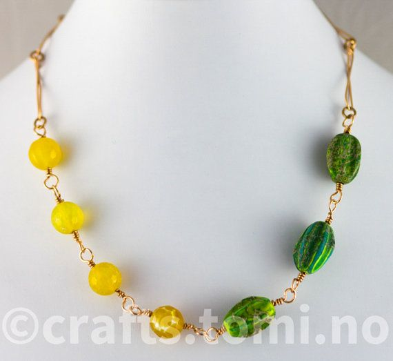 Short bronze necklace  yellow and green necklace  by tomicraft