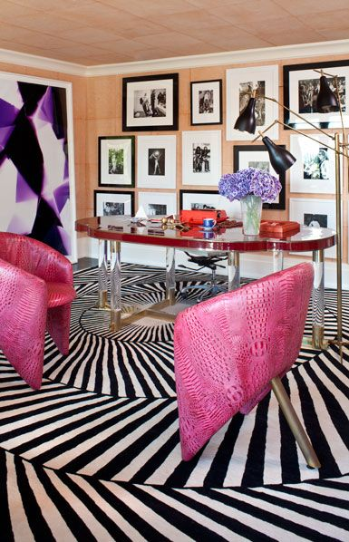 That floor!: Decor, Offices Spaces, Black And White, Interiors Design, Pink Chairs, Kelly Wearstler, Rugs, Home Offices, Books Review