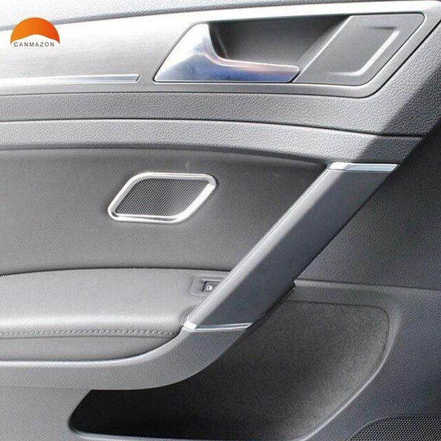 For Volkswagen Vw Golf 7 2014 2015 5 Door Stainless Steel Side Door Speaker Cover Ring Trim Stickers Interior Accesso Interior Accessories Car Interior Vw Golf