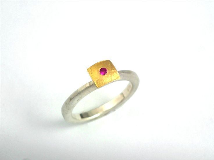 Minimal square gold and silver ring decorated with a genuine ruby, a rough surface and a hammered band. by TomisCraft on Etsy