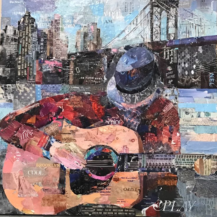"""At Play 36""""x36"""" fine art collage painting of guitar player in New York City."""