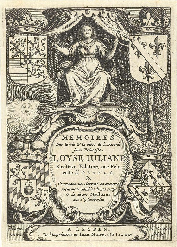 Louise Juliana van Oranje-Nassau tronend onder baldakijn boven cartouche met titel, in vier hoeken familiewapens en sinaasappelboom, Cornelis van Dalen (I), Joannes Maire, 1645