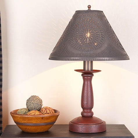 Butcher's Chamberstick Wooden Table Lamp w/ Shade | Primitive Colonial Light | eBay