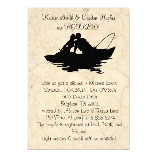 Vintage fishing lovers boat wedding invitation boats for Fishing wedding invitations