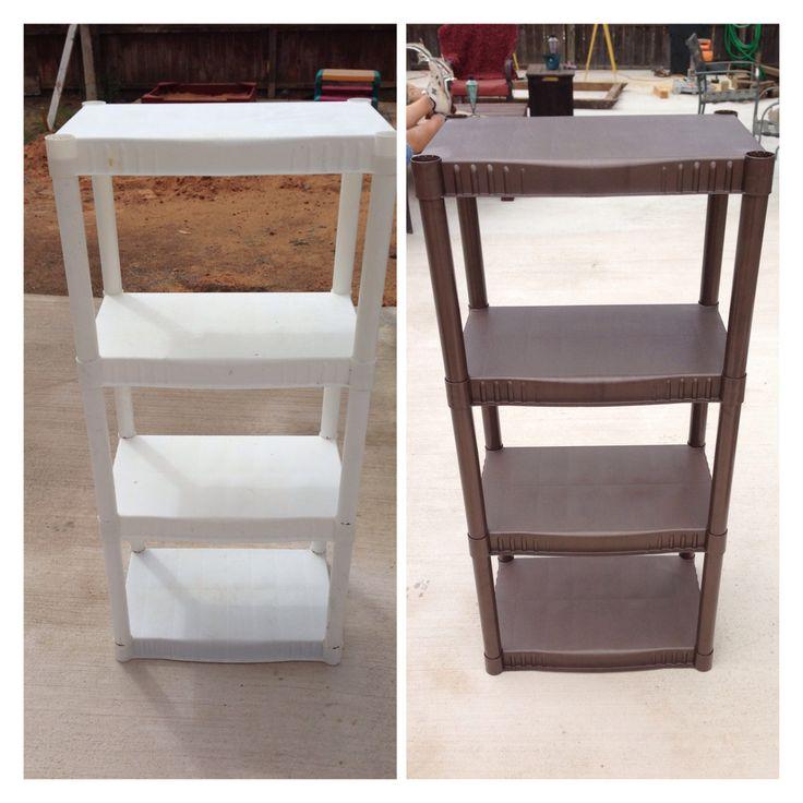 DIY: plastic shelves, painted hammered brown:)) I like them again..... Lol