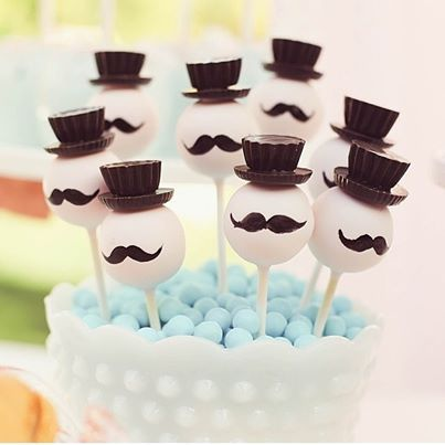 Mustached Top Hat Cakepops No source #Cakepops