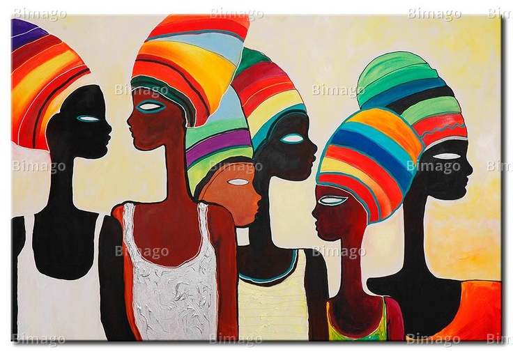Quadro donne africane con turbanti / Painting of african women with colorful turbans