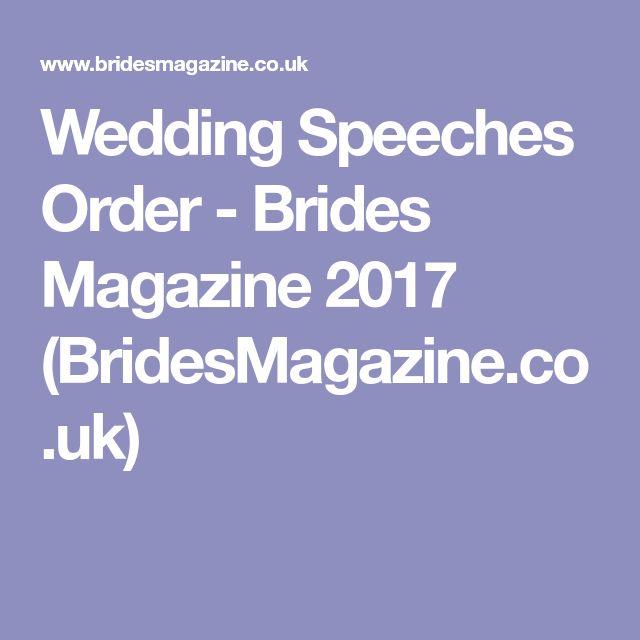 Wedding Speeches Order - Brides Magazine 2017 (BridesMagazine.co.uk)