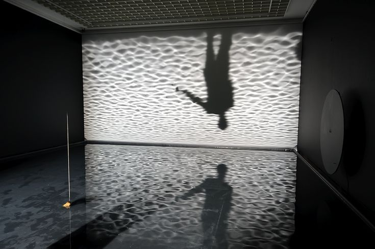 hout, rubber, lampen, water / wood, rubber, lamps, water Museum Boijmans Van Beuningen, Rotterdam 2010  Notion Motion van Olafur Eliasson bestaat uit drie delen, waarin de interactie tussen water, licht en de bezoeker centraal staat. Met eenvoudige bestanddelen heeft Eliasson een fabelachtig werk gemaakt. Hij dompelt de beschouwer onder in een overweldigende visuele wereld, die tegelijkertijd ook heel simpel en minimaal is. Dit alles wordt zichtbaar gemaakt door een wisselende interactie…