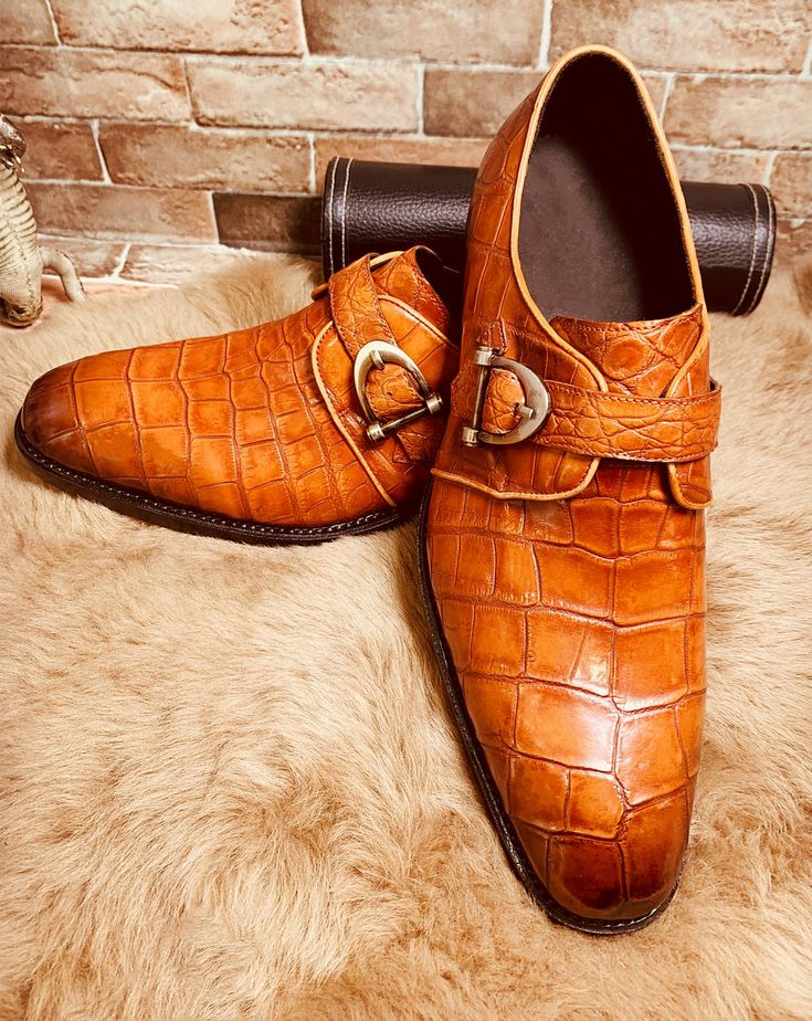 Alligator Leather Single Monk Strap Dress Shoes Oxford Formal Business Shoes