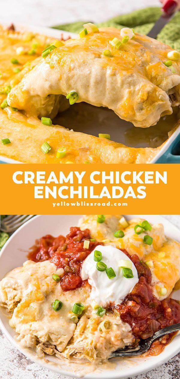 Slow Cooker Creamy Chicken Enchiladas Recipe Sour Cream Chicken Chicken Enchiladas Mexican Food Recipes
