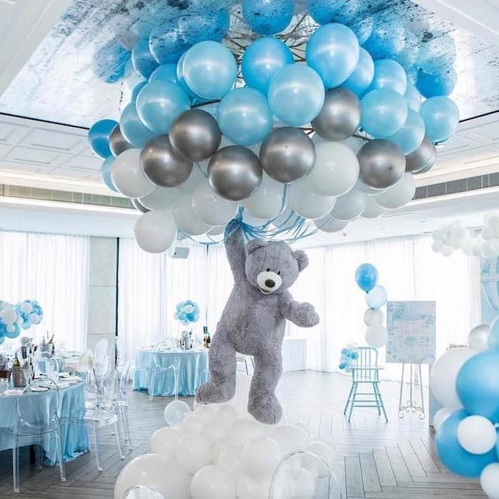 Plush Teddy Bear Baby Shower Themes Blue Grey White Balloons Tables Chairs In 2020 Creative Baby Shower Themes Baby Shower Balloons Baby Shower Centerpieces