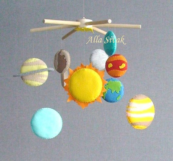 Solar System Planets Mobile - suitable For Baby from the birth, but also it is very useful for School-age Children like educational tool decorating kids room environment, perfect to help your little one learn their planets and what they look like.  It is suitable for both boys and girls in the room, as it is very colorful and versatile.  I aimed to match the colors on the planet by images of space photo images. The planet sizes are made so they match somewhat to the size variation of the…