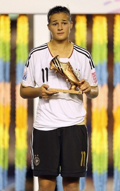 TOKYO, JAPAN - SEPTEMBER 08: Lena Lotzen of Germany wins the adidas Bronze Boot during the FIFA U-20 Women's World Cup Final match between USA and Germany at the National Stadium on September 8, 2012 in Tokyo, Japan. (Photo by Ian Walton - FIFA/FIFA via Getty Images)