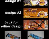 Los Angeles Lakers Set of 12 Personalized Candy Bar Wrappers Party Favors