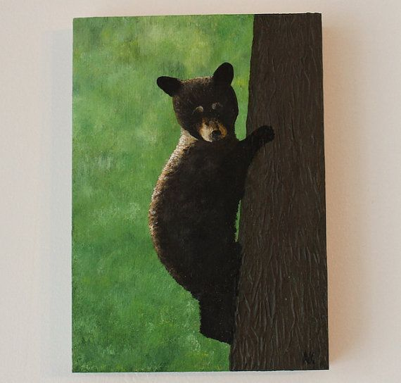 Young Bear -Original Acrylic Painting Artist Anaïs K.  Anaïs Art Shoppe. www.AnaisArtShoppe.etsy.com