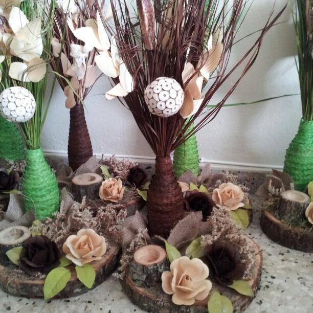 Centros de mesa para bodas rustico bases artesanales - Centro de mesa rustico ...