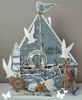 Tineke's card nook: Boating, sailing, over the waves ....