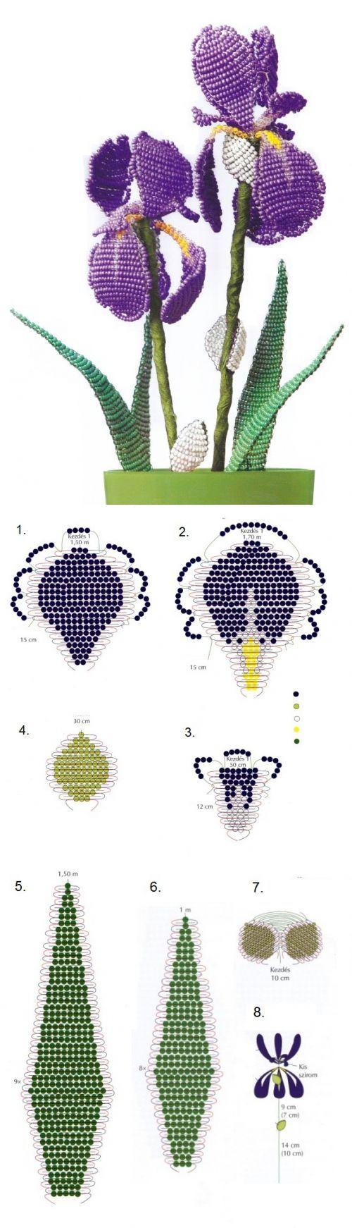 Ирисы параллельным плетением / Цветы / Biserok.org
