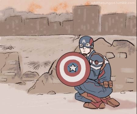 Bucky giving Steve a hand... This is not right, hahaha