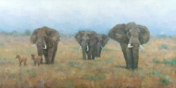 Original Elephant Painting On the Move by stevemitchell on Etsy