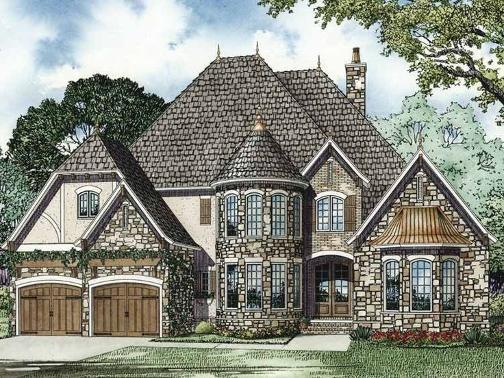 European House Plan with 3328 Square Feet and 4 Bedrooms(s) from Dream Home Source | House Plan Code DHSW64218