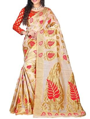 White Kanjeevaram Silk Saree - Online Shopping for Sarees