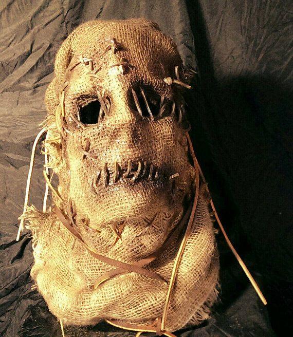 black scarecrow mask | Custom burlap zombie Scarecrow Mask by CustomChaosCreations