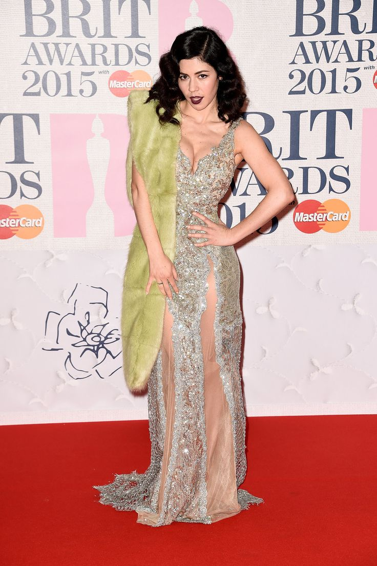 Marina Diamandis at the BRIT Awards wearing a Celia Kritharioti Gown