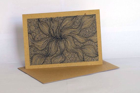 Handmade greeting card style GC011 set of 3 - ethnic abstract drawing - all occassion