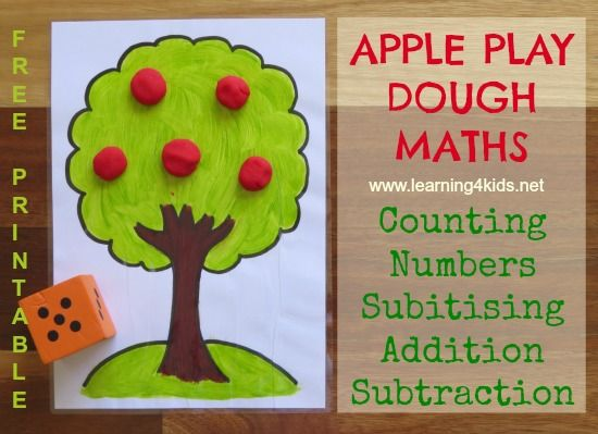 Apple Play Dough Maths Activities - Counting, Numbers, Subitising, Addition and Subtraction with FREE printable!  {Learning4kids}
