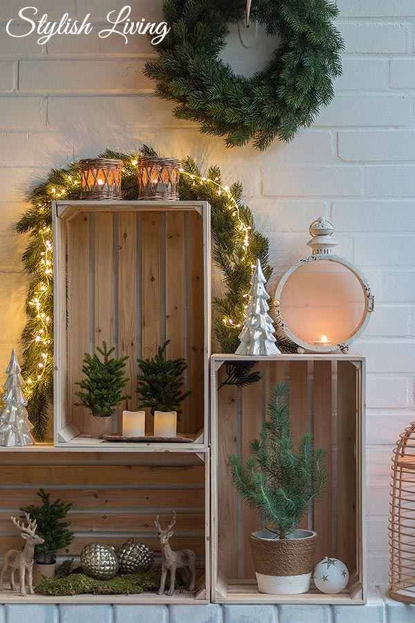 Weinkisten weihnachtlich dekorieren – Haus