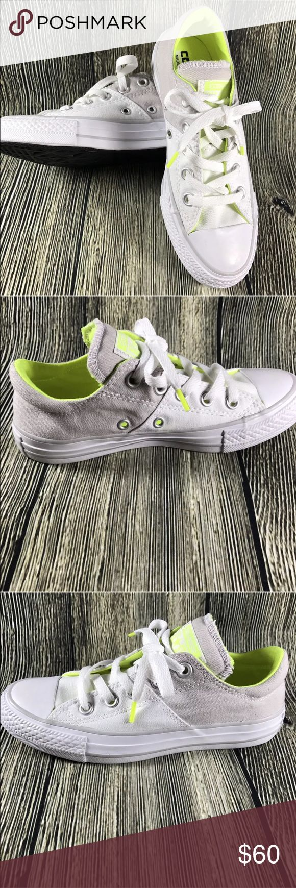 Converse All Star Canvas Lace Up NEW!  Converse All Star  White and Gray  Bright yellow inside and details  Size 5 Converse Shoes Athletic Shoes